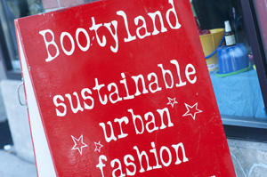 Bootyland sandwich board painted by Autumn M. Armstrong in 2009