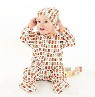 Soft organic cotton outfit that wraps around the baby and has feet. You can't go wrong especially with all of the unique prints